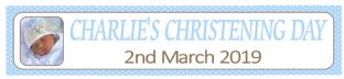 Personalised Blue Polka Dot Photo Christening Banner